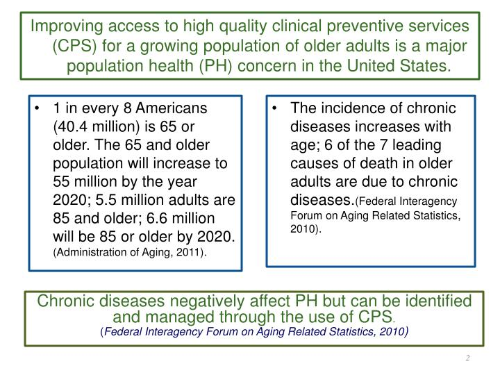 Improving access to high quality clinical preventive services (CPS) for a growing population of older adults is a major population health (PH) concern in the United States.