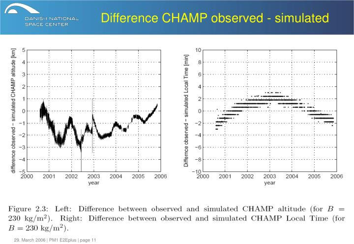 Difference CHAMP observed - simulated