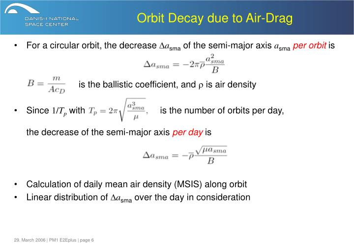 Orbit Decay due to Air-Drag
