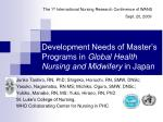 development needs of master s programs in global health nursing and midwifery in japan