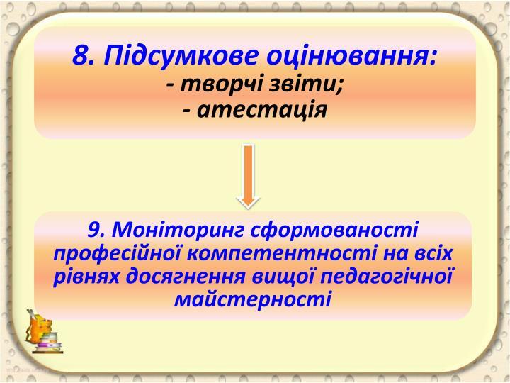 8. Підсумкове оцінювання: