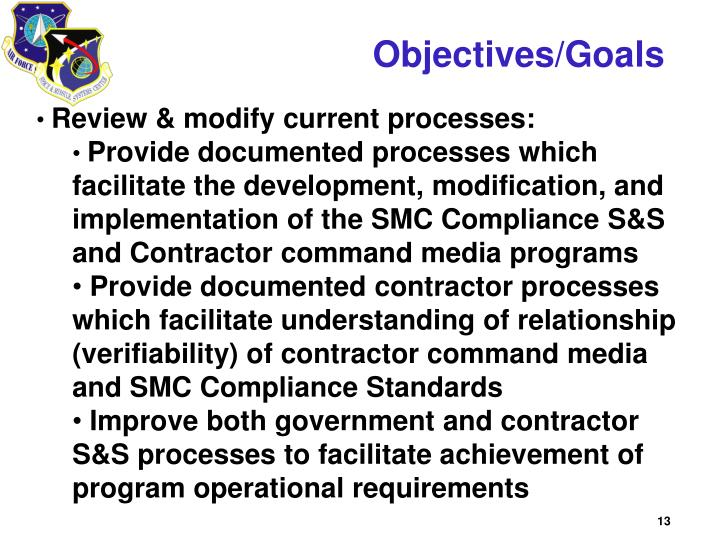 Objectives/Goals