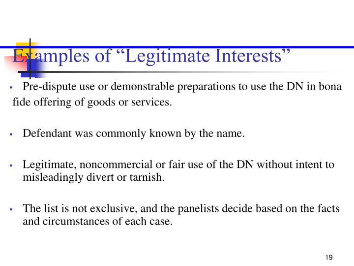 """Examples of """"Legitimate Interests"""""""