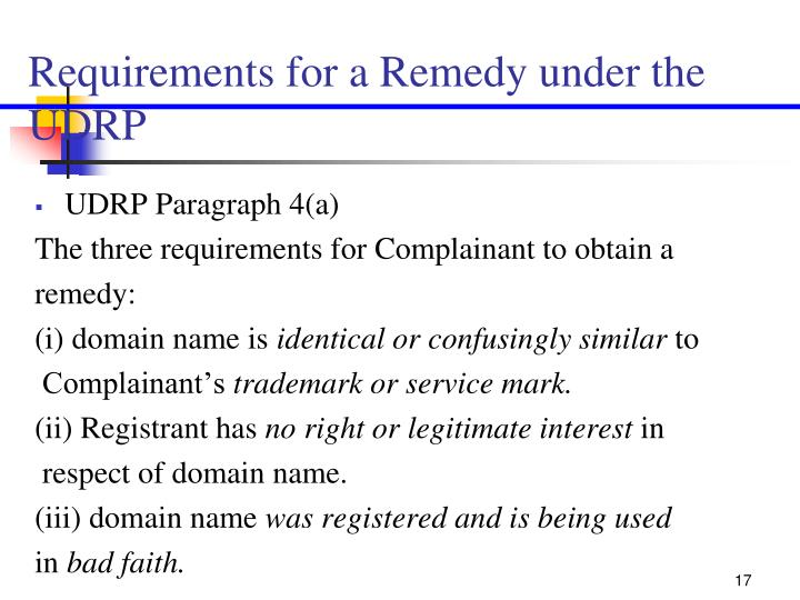 Requirements for a Remedy under the UDRP