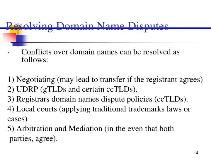 Resolving Domain Name Disputes