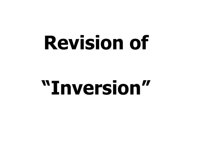 Revision of