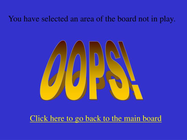 You have selected an area of the board not in play.