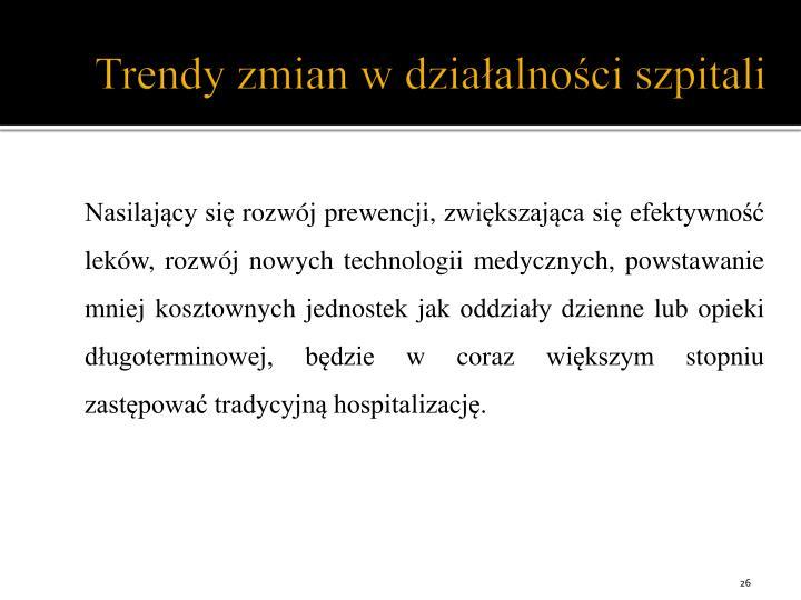 Trendy zmian w działalności szpitali