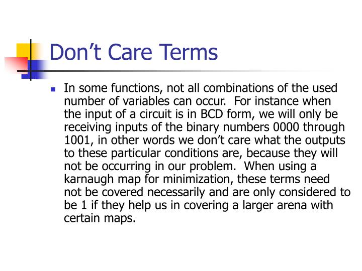Don't Care Terms