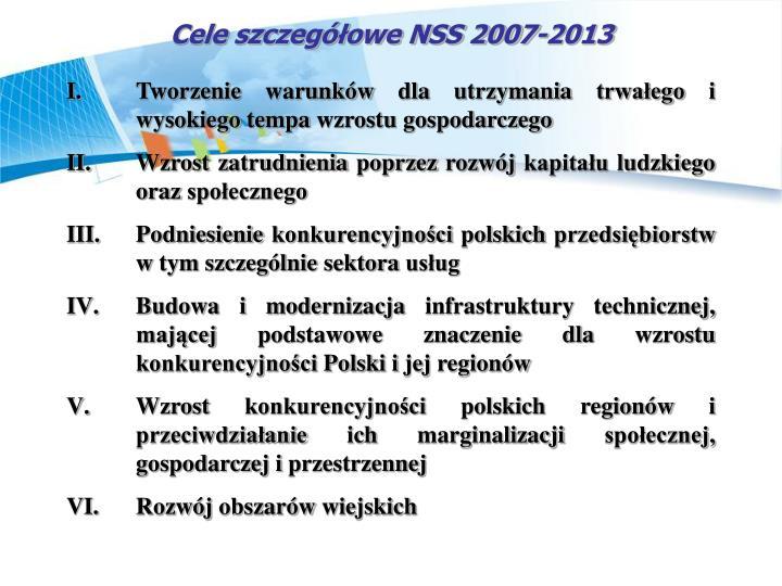 Cele szczegowe NSS 2007-2013