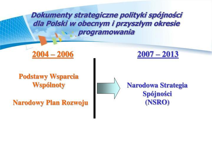 Dokumenty strategiczne polityki spjnoci
