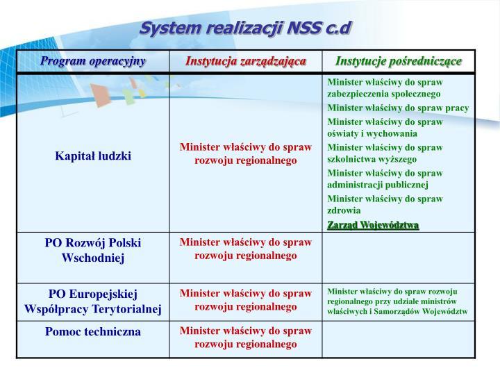 System realizacji NSS c.d