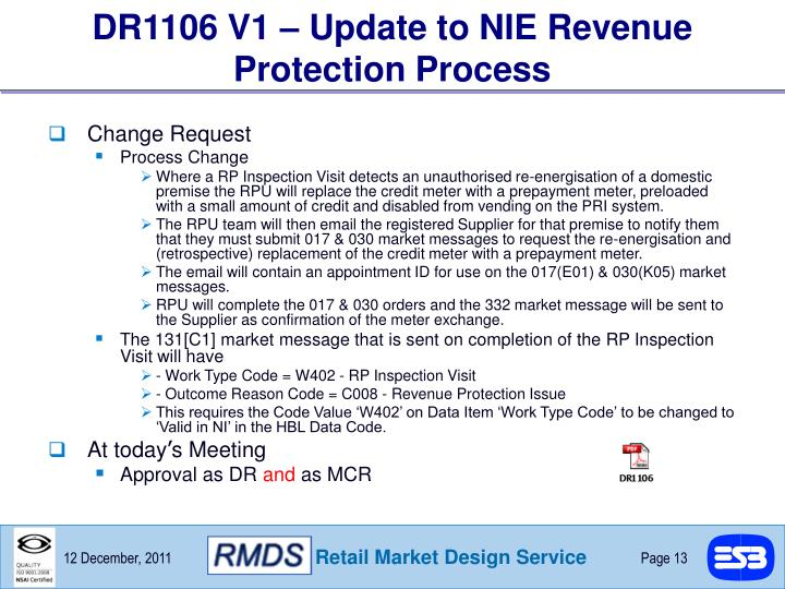 DR1106 V1 – Update to NIE Revenue Protection Process
