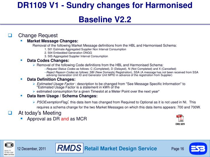 DR1109 V1 - Sundry changes for Harmonised Baseline V2.2