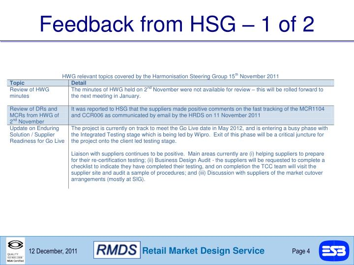 Feedback from HSG – 1 of 2