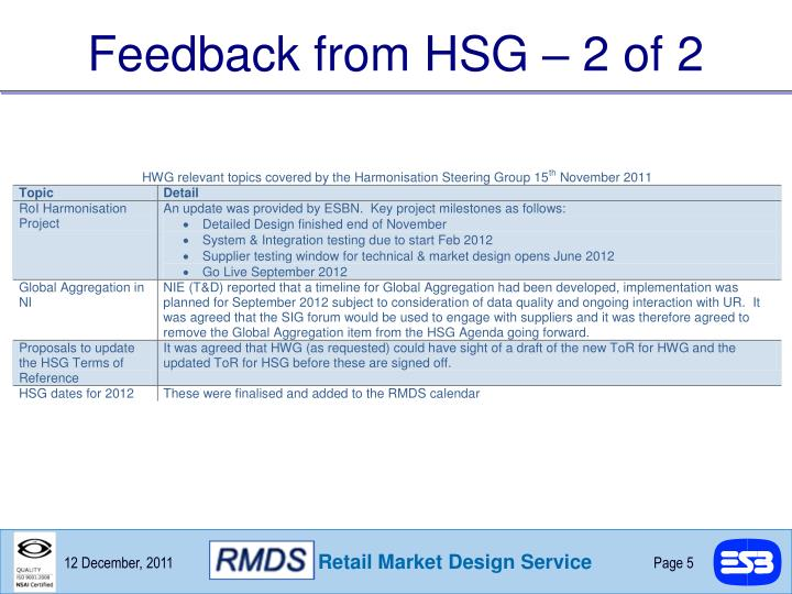Feedback from HSG – 2 of 2