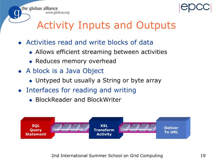 Activity Inputs and Outputs
