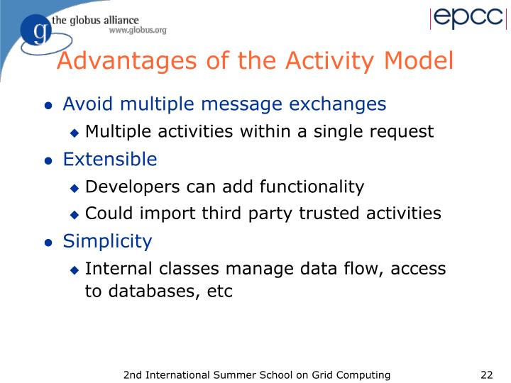 Advantages of the Activity Model