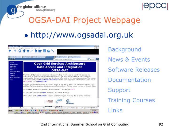 OGSA-DAI Project Webpage