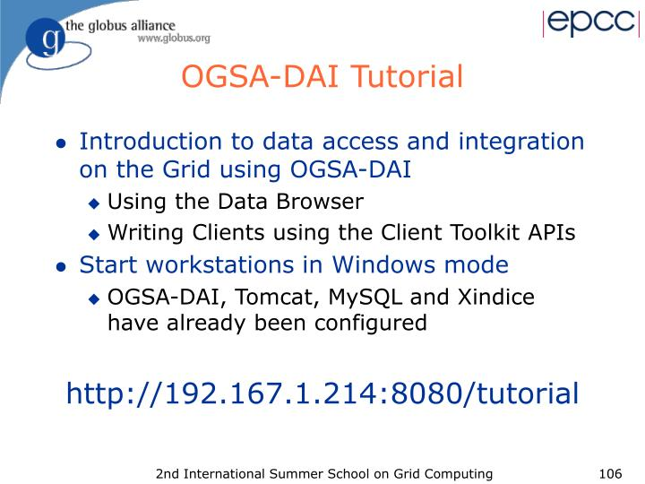 OGSA-DAI Tutorial