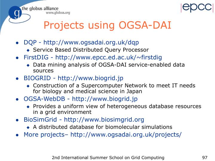 Projects using OGSA-DAI