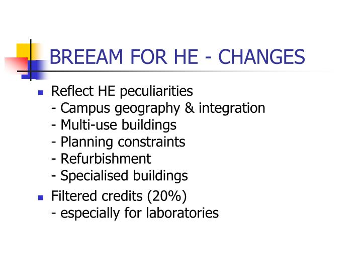 BREEAM FOR HE - CHANGES