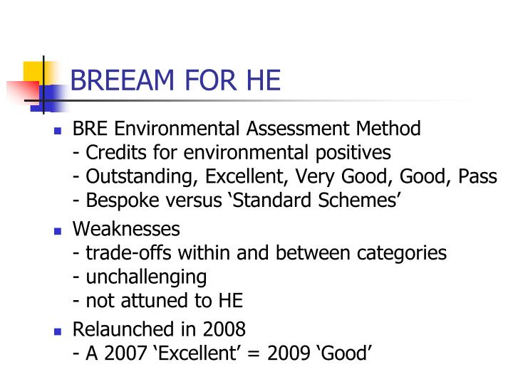 BREEAM FOR HE