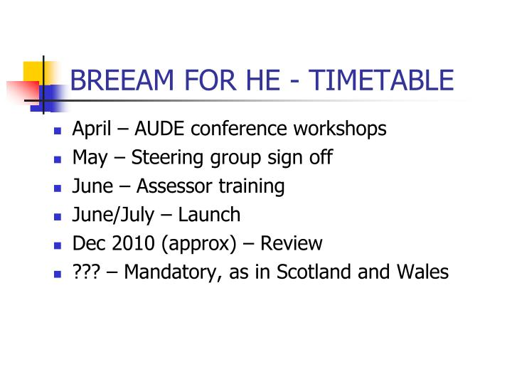 BREEAM FOR HE - TIMETABLE