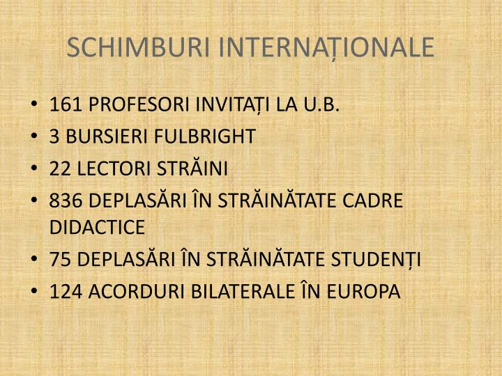 SCHIMBURI INTERNAȚIONALE