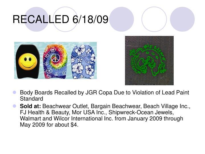 RECALLED 6/18/09