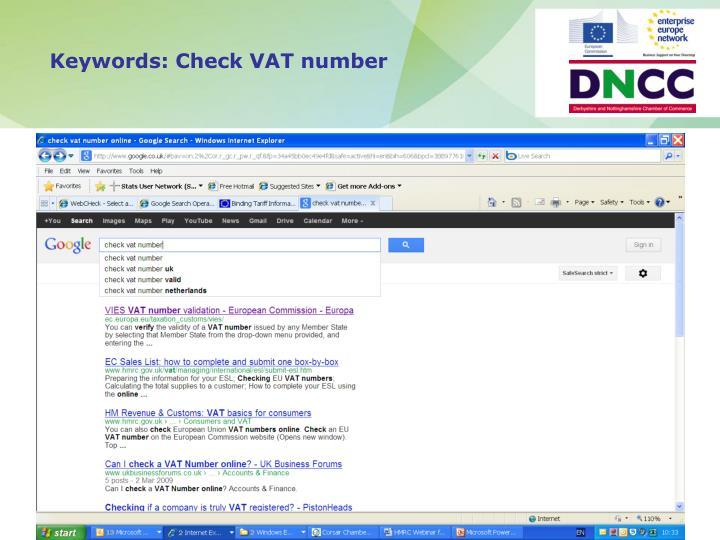 Keywords: Check VAT number