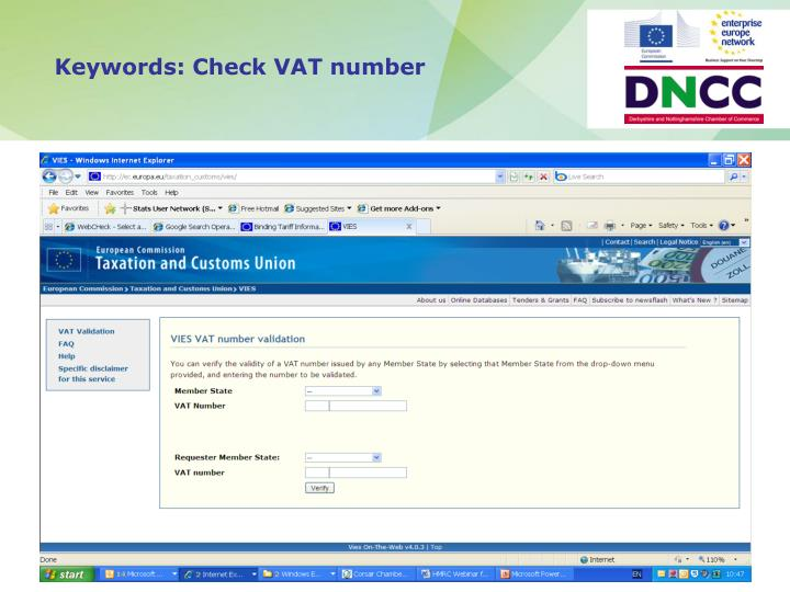 Keywords: Check VAT number