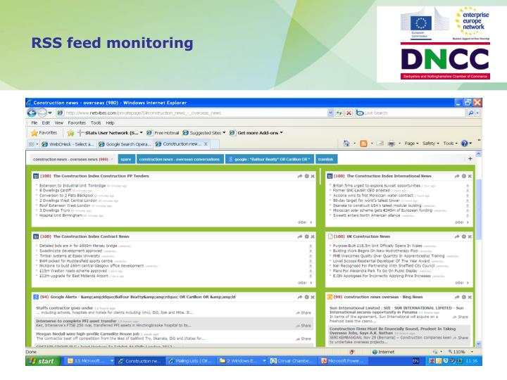 RSS feed monitoring