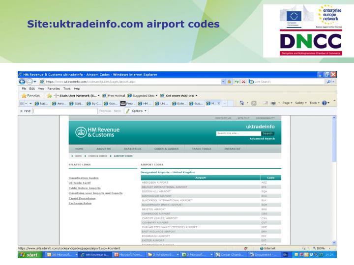 Site:uktradeinfo.com airport codes