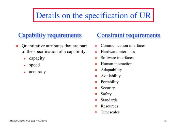 Quantitative attributes that are part of the specification of a capability: