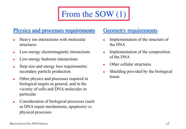 Physics and processes requirements
