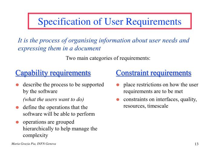 Specification of User Requirements