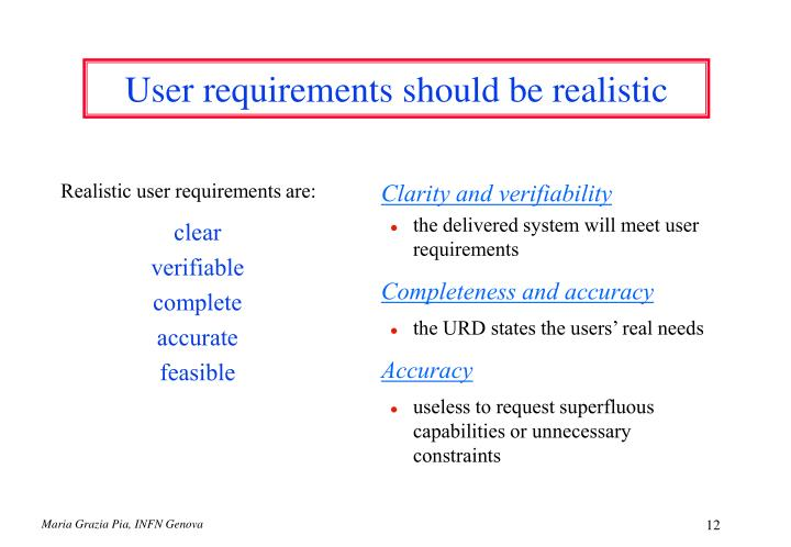 Realistic user requirements are: