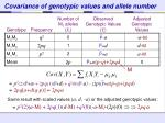 covariance of genotypic values and allele number