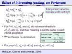 effect of inbreeding selfing on variances