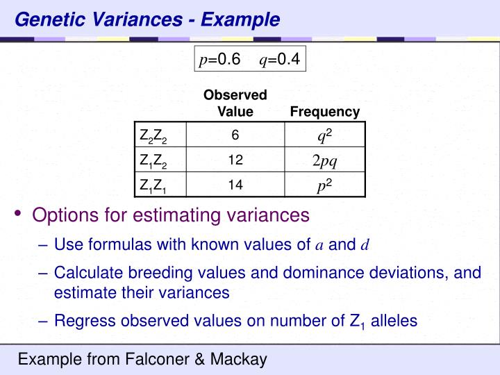 Genetic Variances - Example