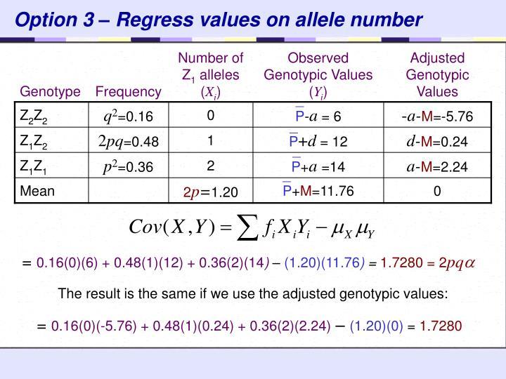 Option 3 – Regress values on allele number