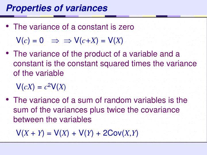 Properties of variances
