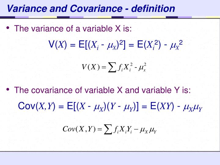 Variance and Covariance - definition