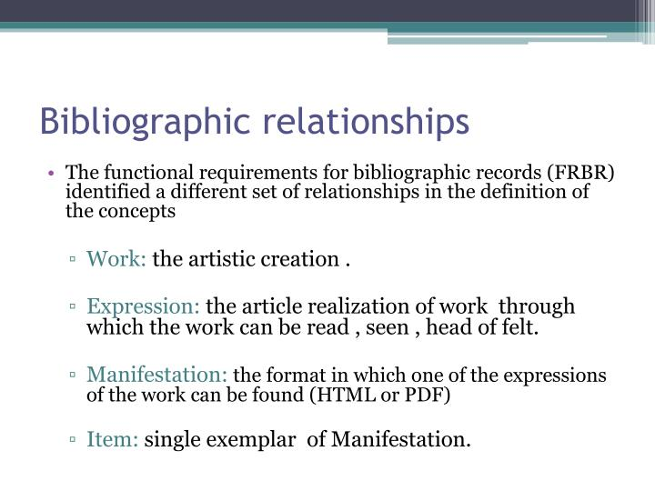Bibliographic relationships
