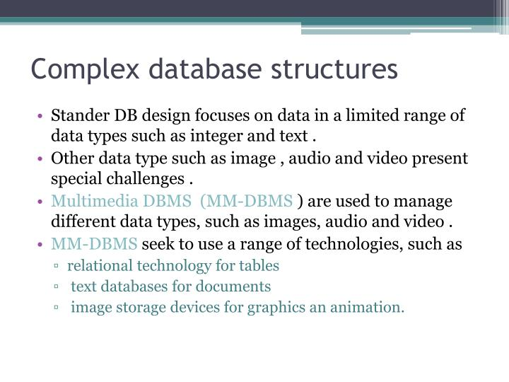 Complex database structures