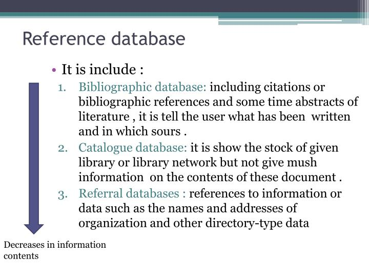 Reference database