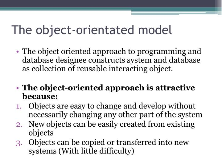The object-orientated model