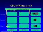 cpu 0 writes 4 to x