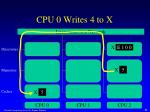 cpu 0 writes 4 to x4